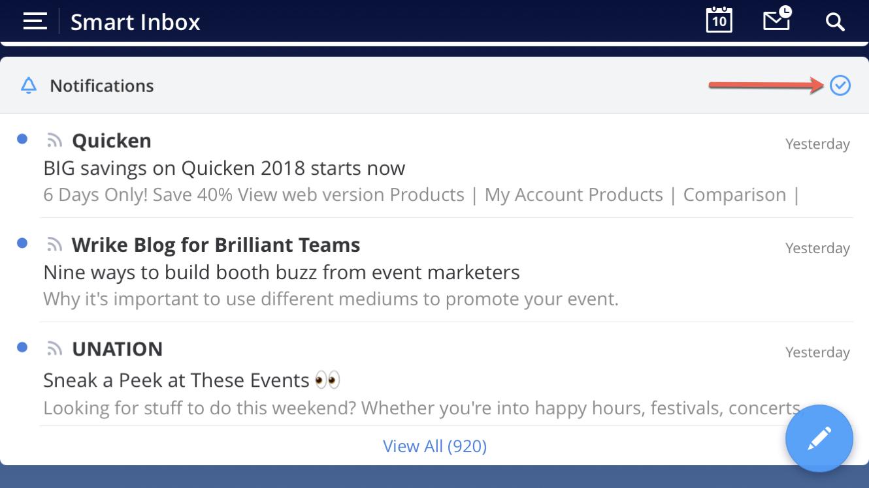 Spark Smart Inbox Card Action