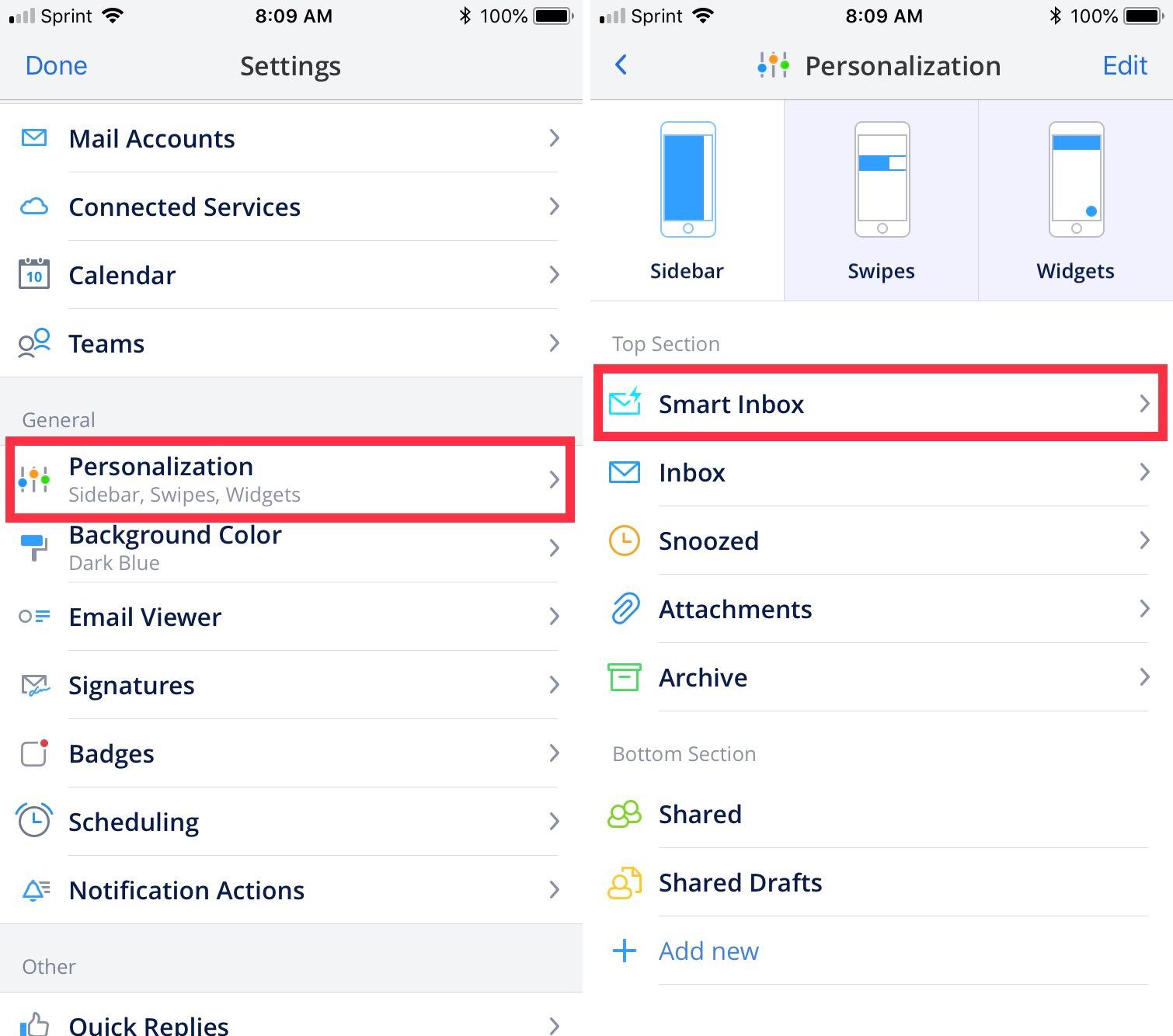 Spark Smart Inbox Settings iPhone