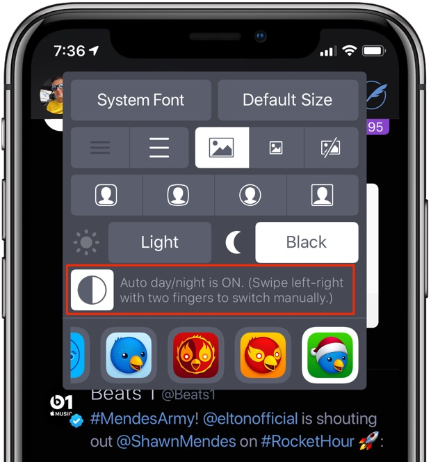 Twitterrific Dark Mode also offers a handy Auto Day/Night option based on your location and time