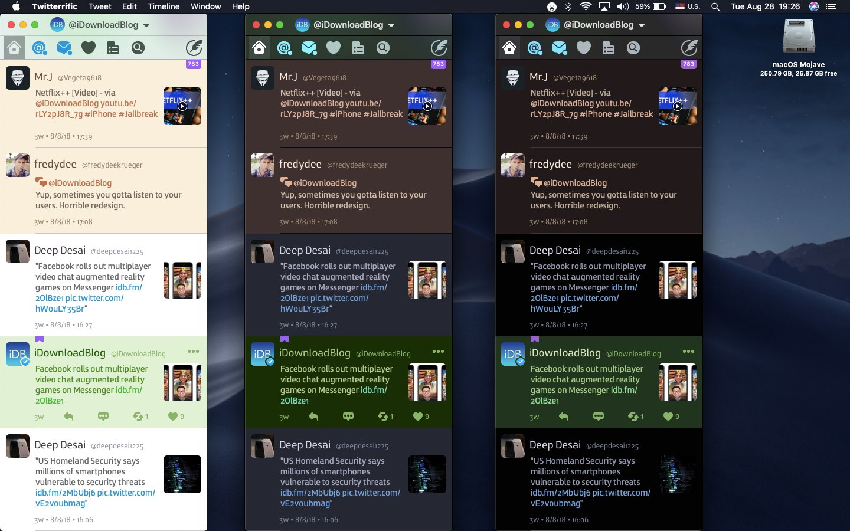 Twitterrific Dark Mode comparison on the Mac