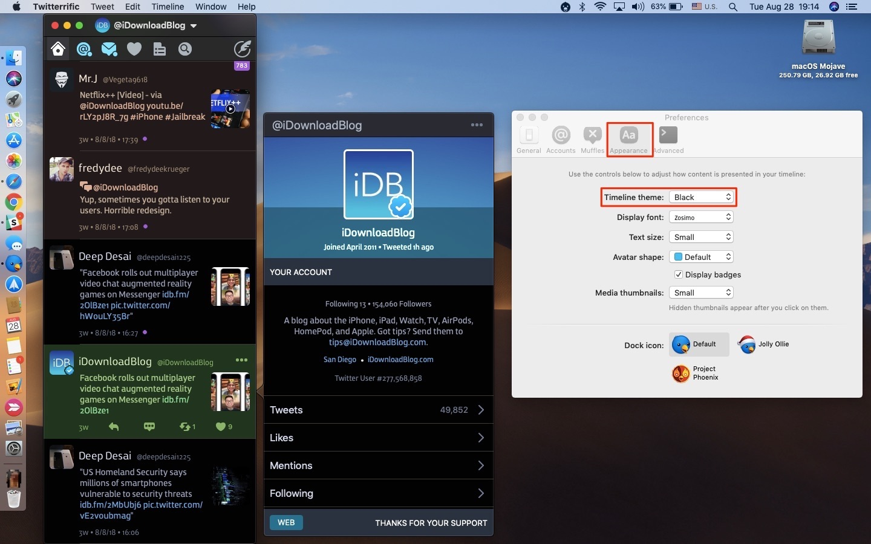 Enabling Twitterrific Dark Mode on the Mac
