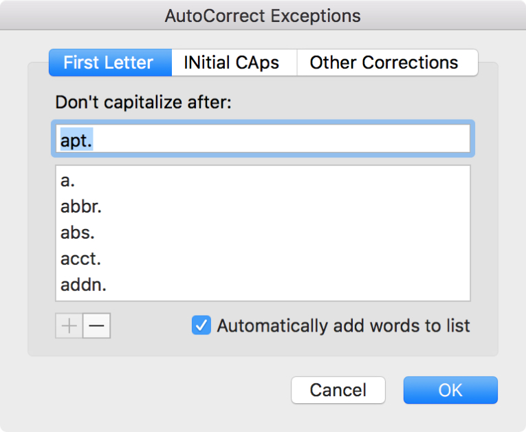 Word AutoCorrect Exceptions Mac