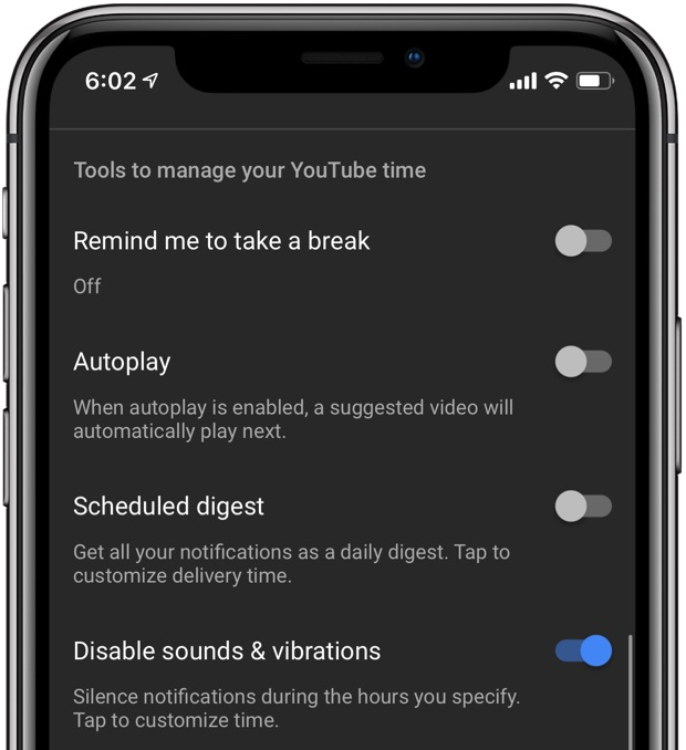 A screenshot showing other told to manage one's YouTube time