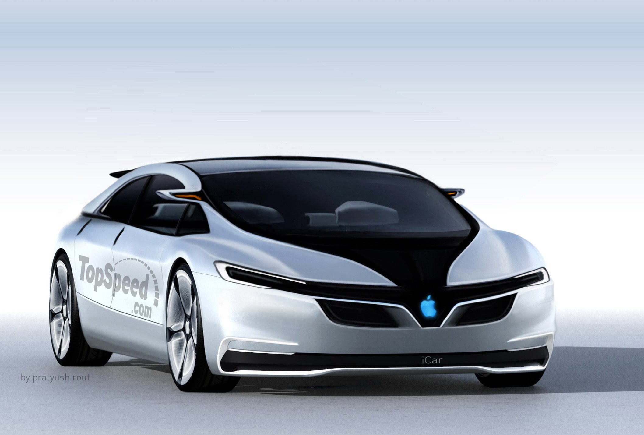 An Apple Car concept image commissioned by the Top Speed magazine