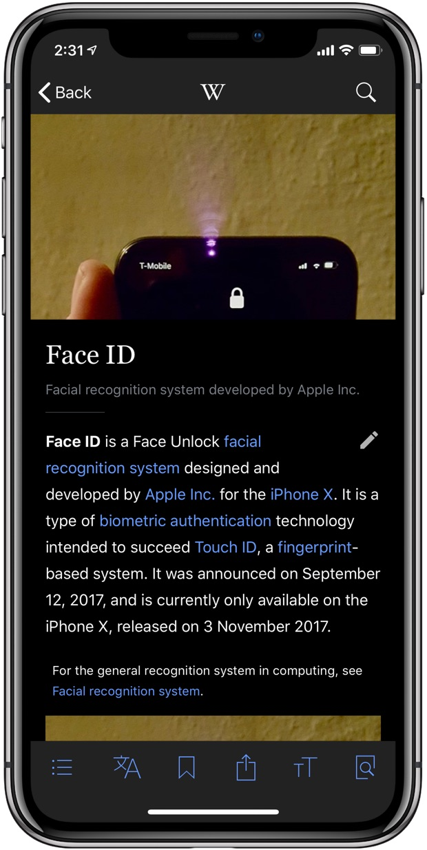 Wikipedia Dark Mode black theme example Face ID article iPhone