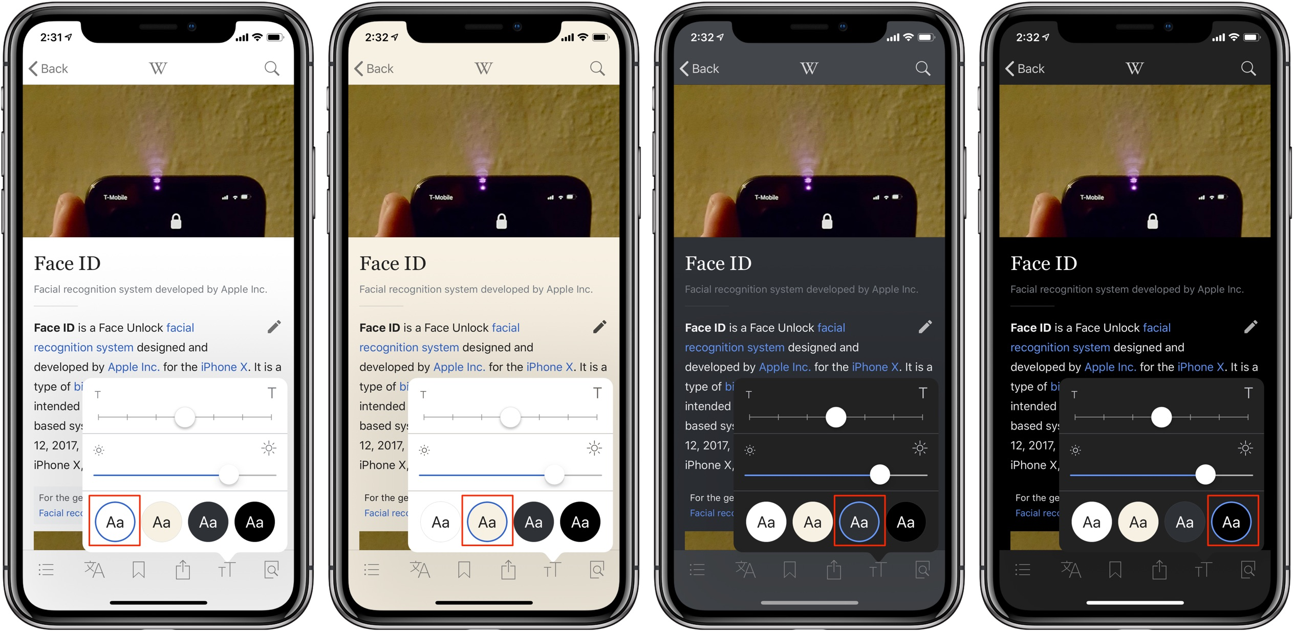 Wikipedia Dark Mode black theme appearance controls iPhone