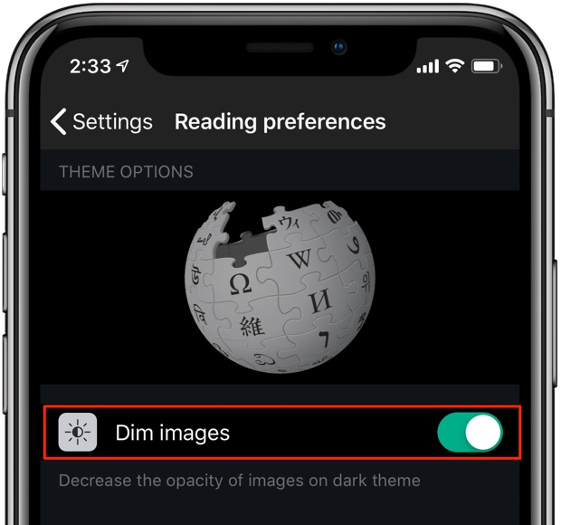 Wikipedia Dark Mode black theme dim images option selected iPhone