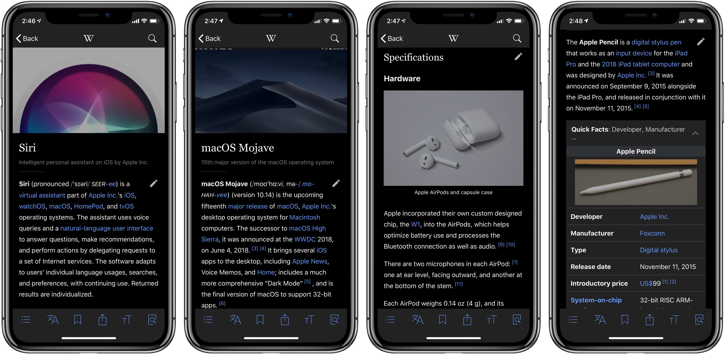 Wikipedia Dark Mode black theme iphone iPad