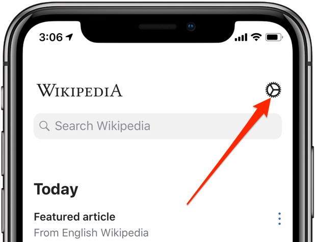 Wikipedia Dark Mode black theme open settings iPhone