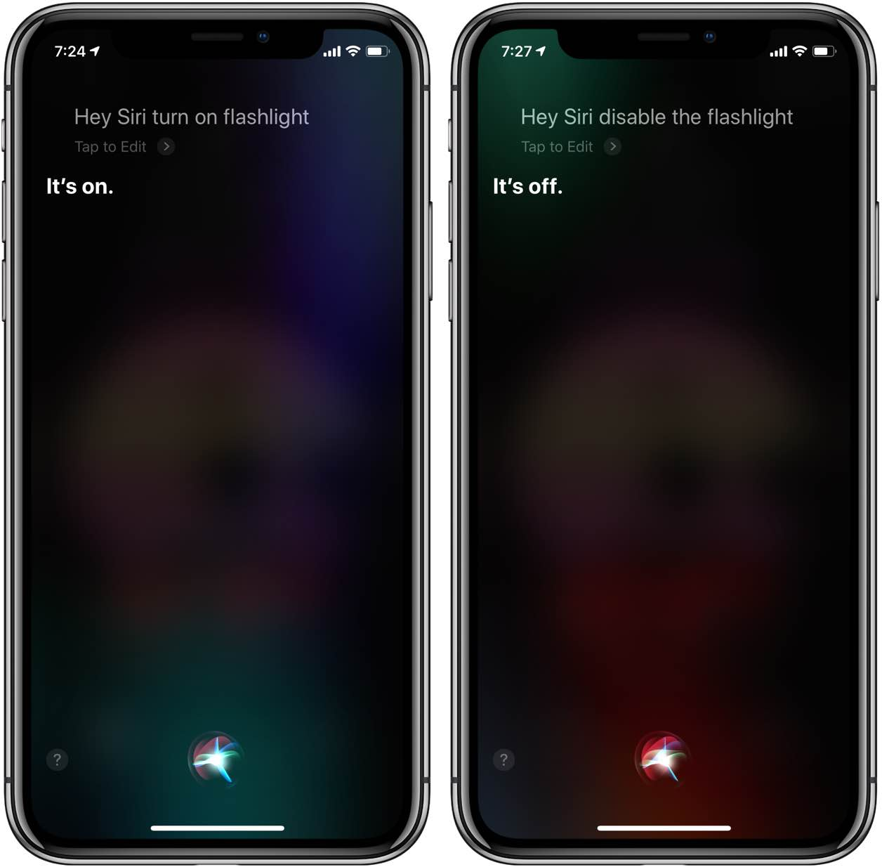 Siri flashlight commands on iOS 12