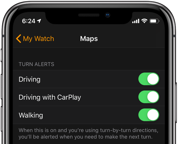 howto apple watch navigation customize maps alerts for driving, CarPlay and walking