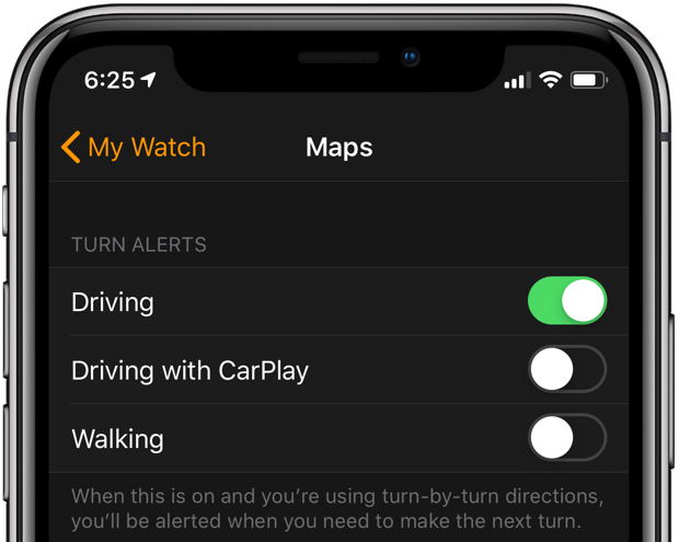 howto apple watch navigation customize maps alerts for driving