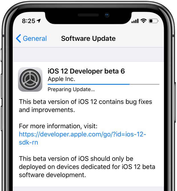 A screenshot showing the over-the-air iOS 12 beta 6 update progress on an iPhone X
