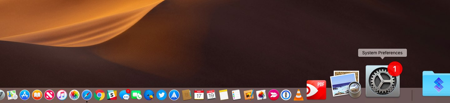 Pending notifications are denoted by the badge on the icon of the System Preferences app