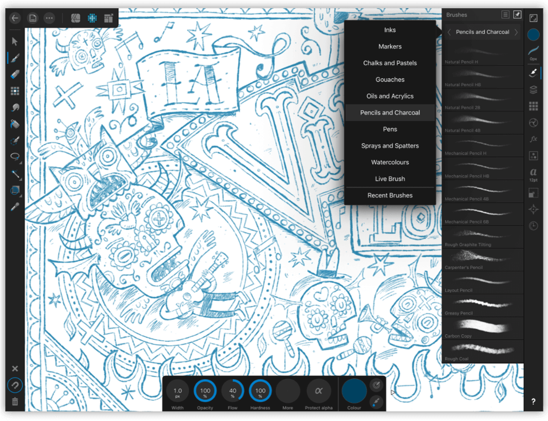 Affinity Designer for iPad features a powerful selection of vector drawing tools for creating resolution independent drawings, such as logos, artwork etc