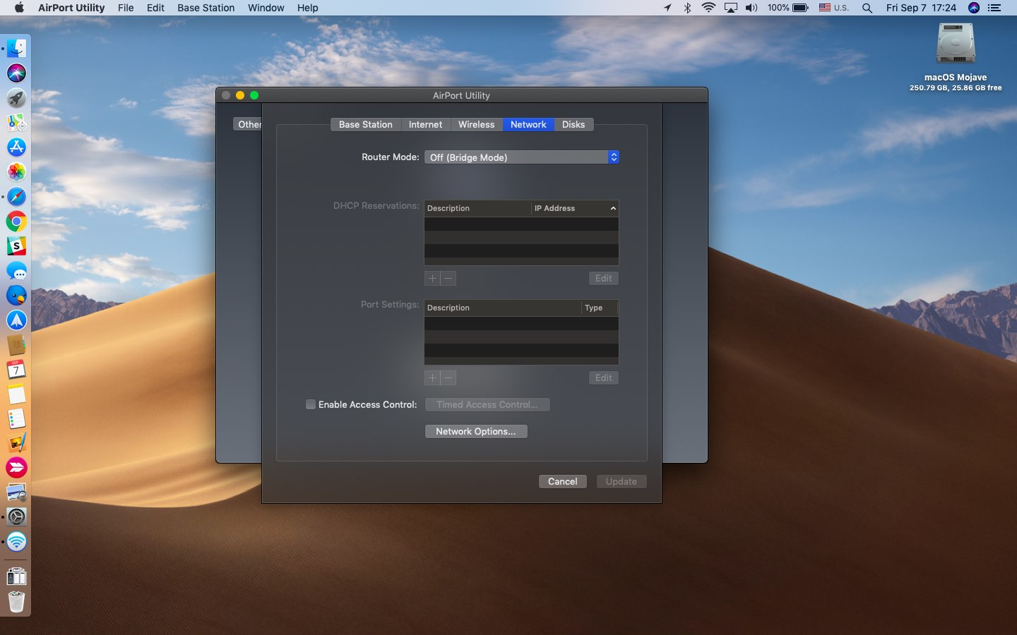 AirPort Utility for iPhone running on macOS Mojave