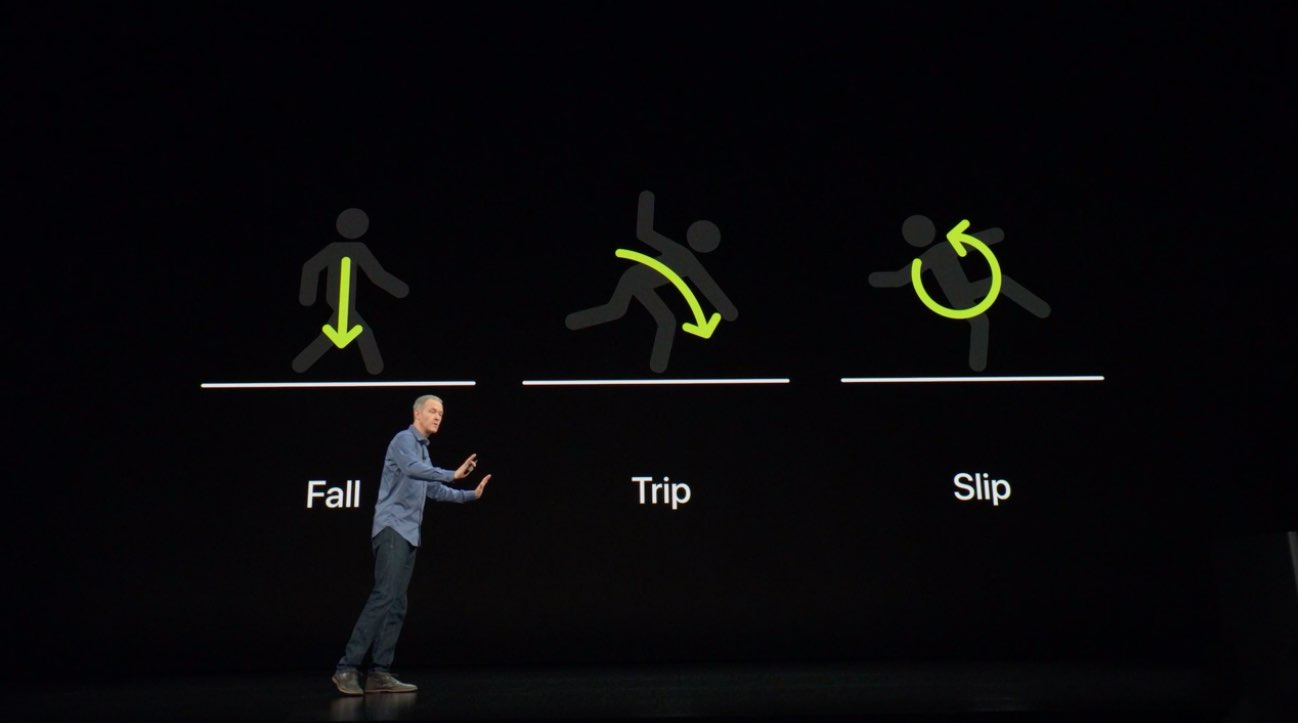 Apple Watch fall detection - September 2018 event slide