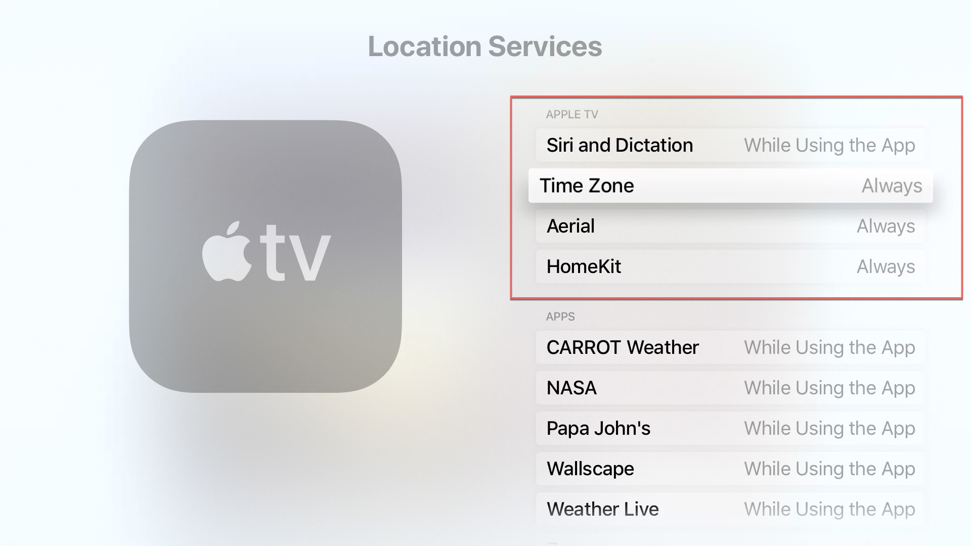 Apple TV Location Services Apple TV Options