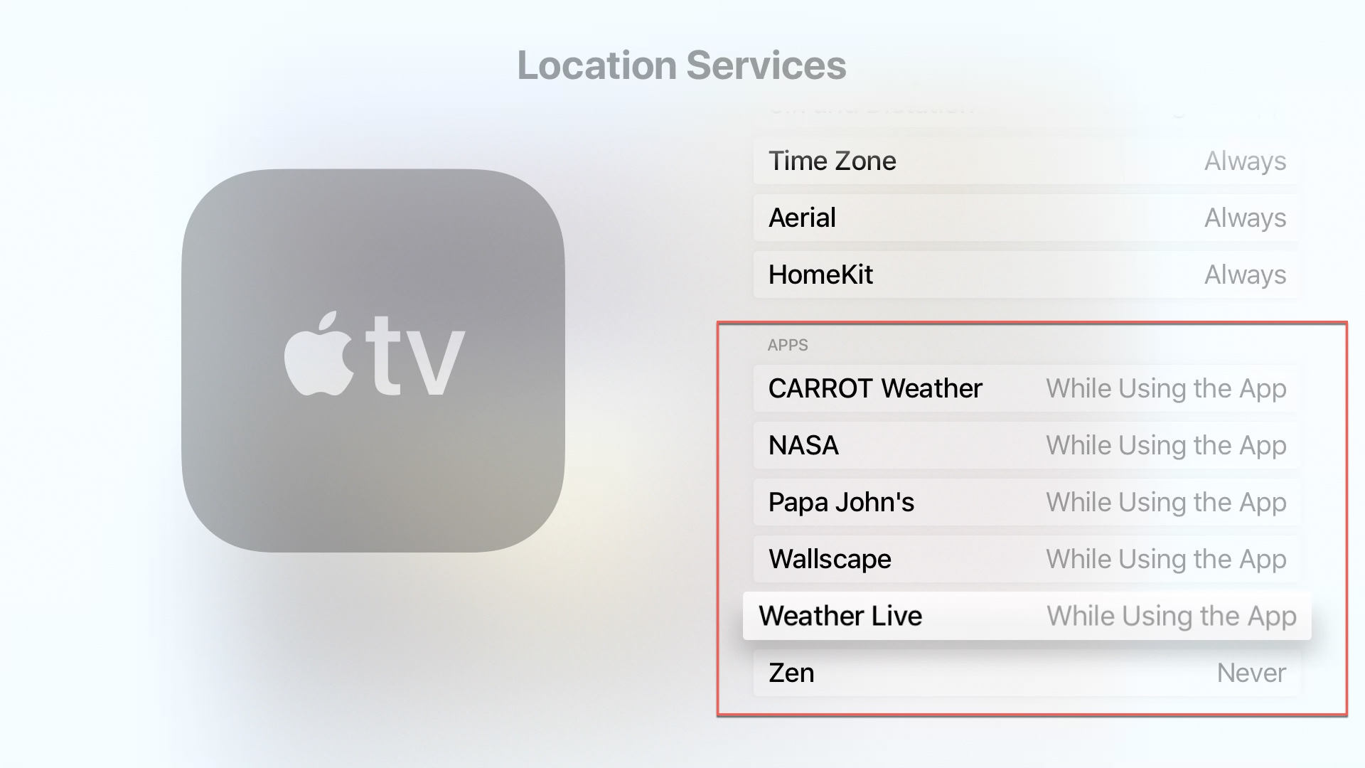 Apple TV Location Services Apps