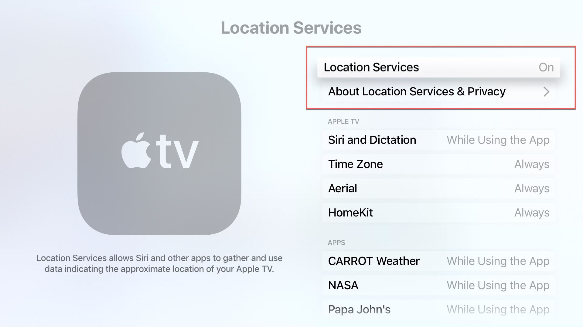 Apple TV Location Services Top