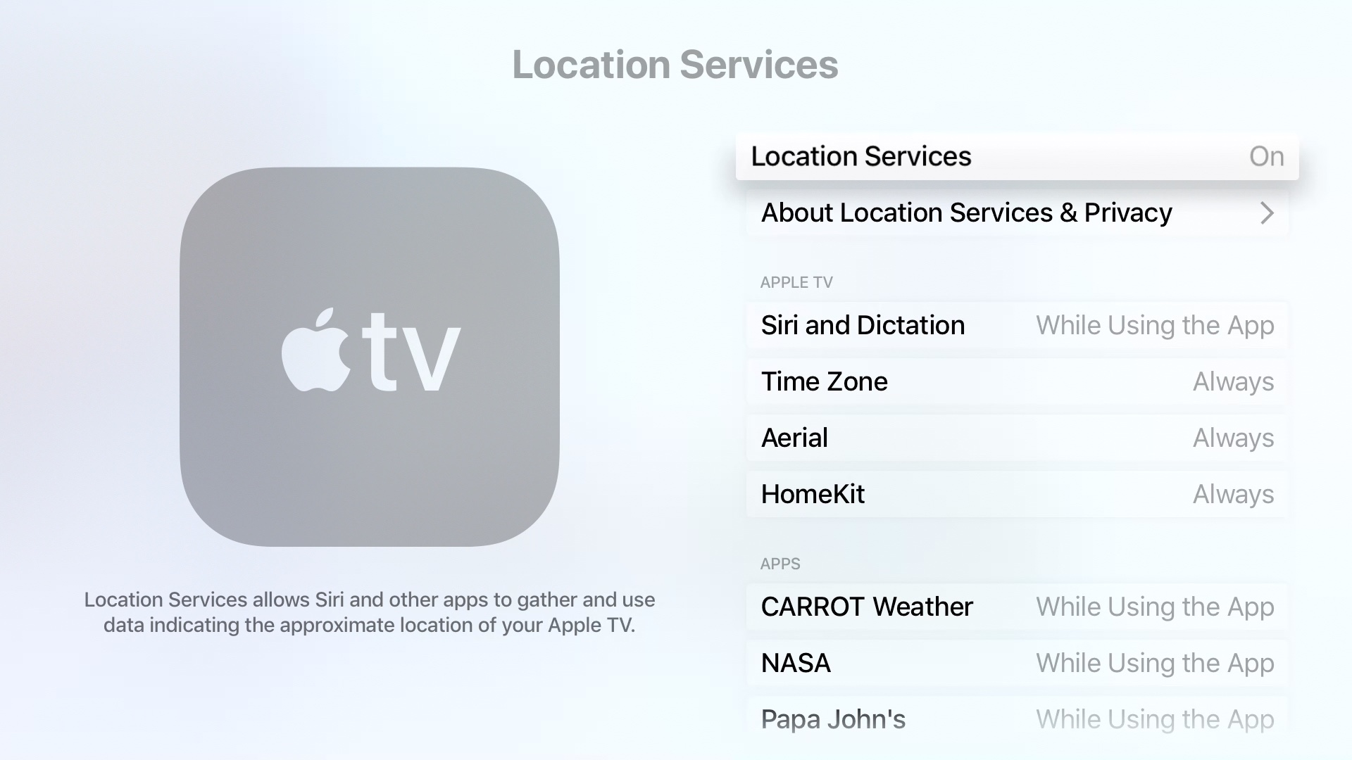 How to change your Apple TV Location Services settings