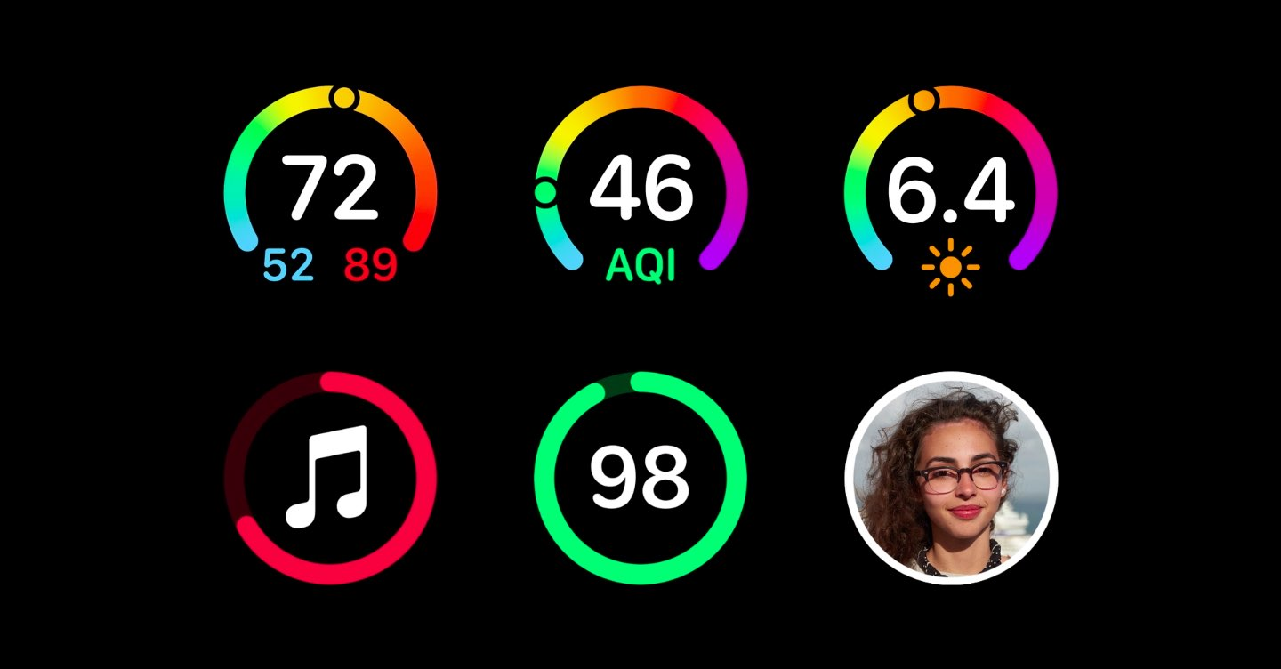 Apple Watch complications on Series 4 include many colorful gauges