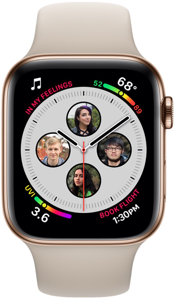 Apple Watch complications on Series 4 : an example image showing circular contact images at 3, 6, 9 o'clock and midnight
