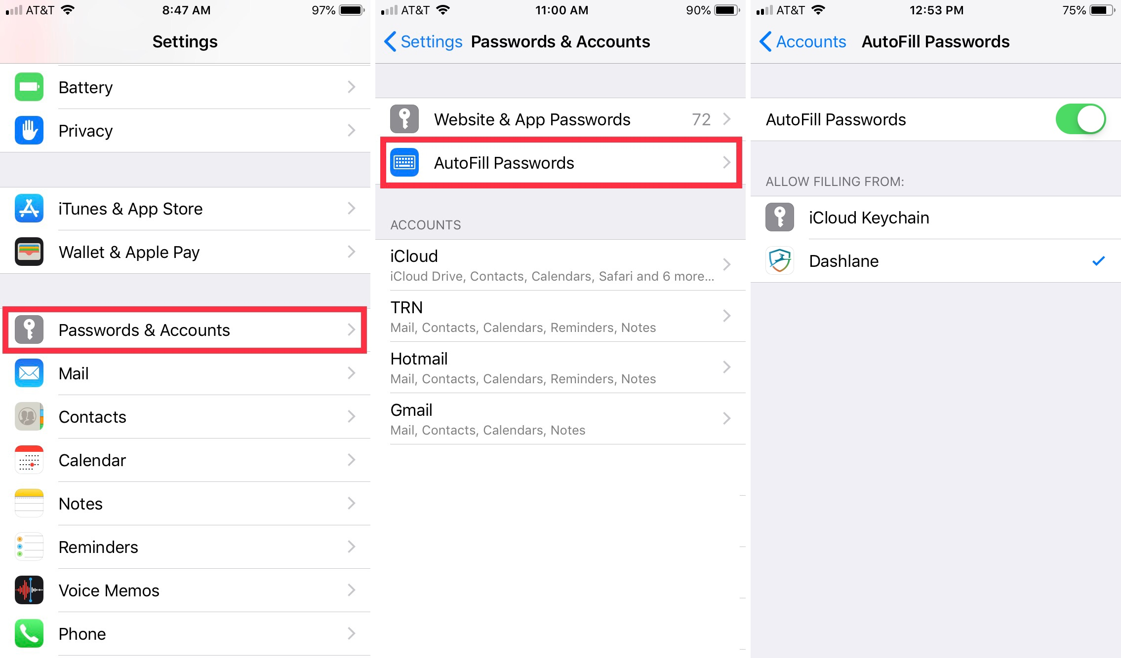 AutoFill Passwords Enabled iPhone