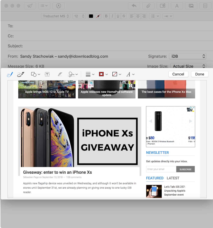 Compose Mail Markup Window Mac
