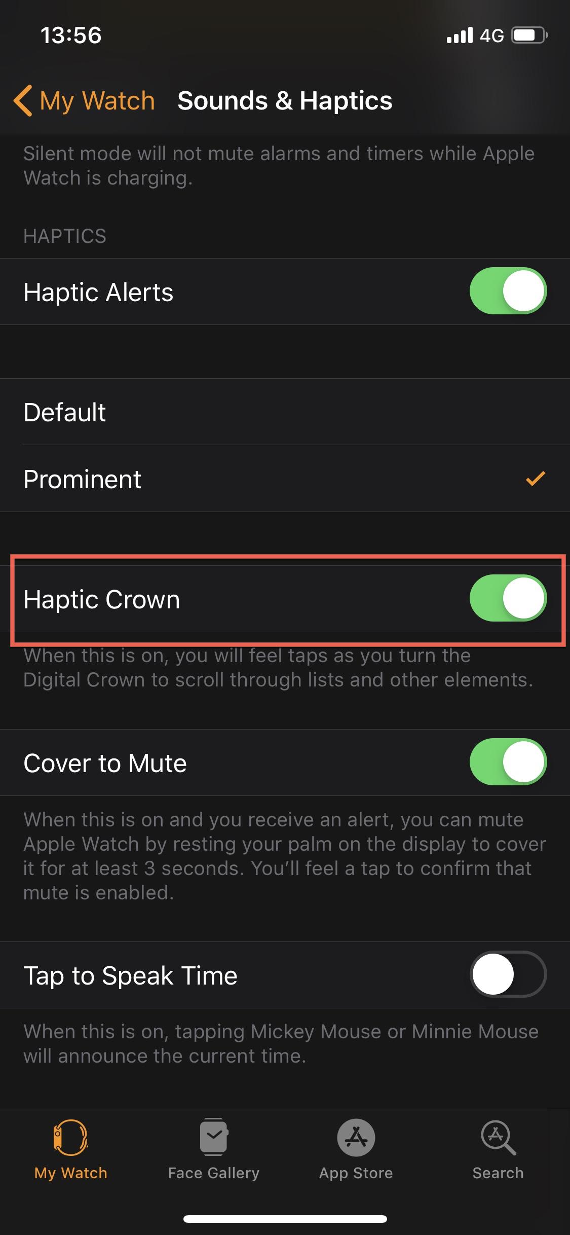 Disable Digital Crown Haptic Feedback iPhone