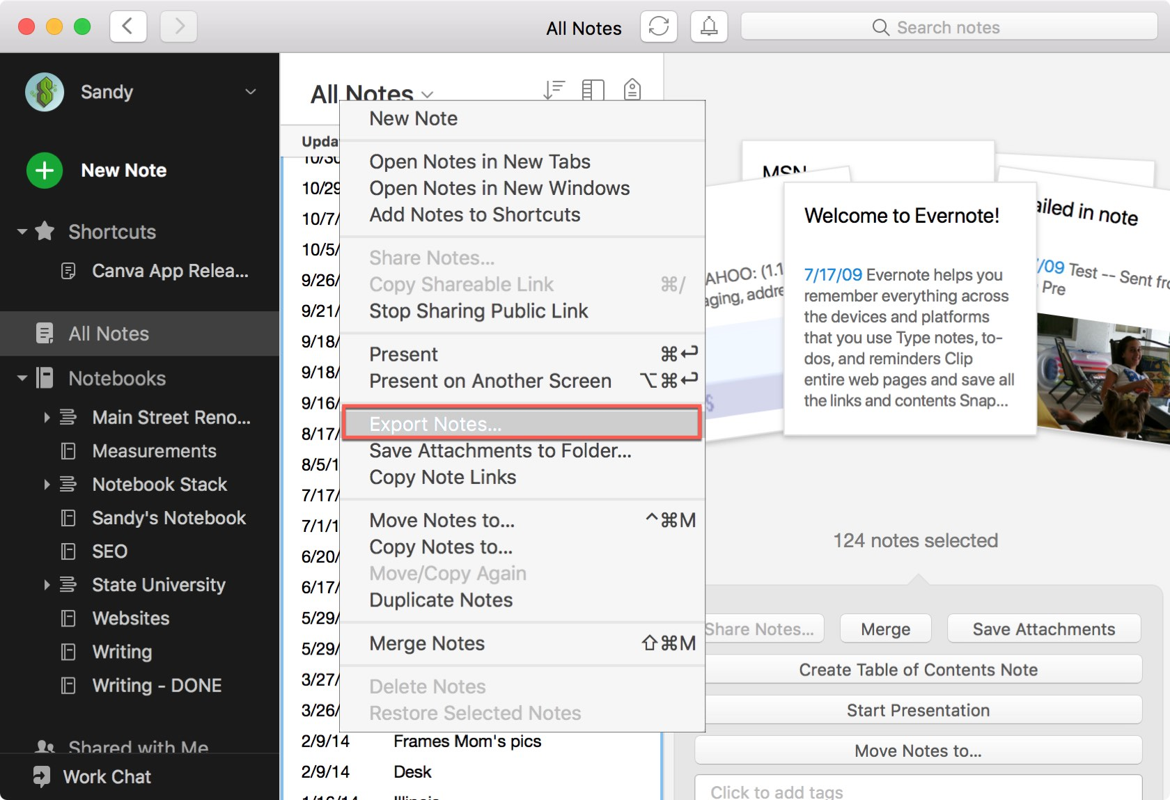 Evernote Export All Notes Mac