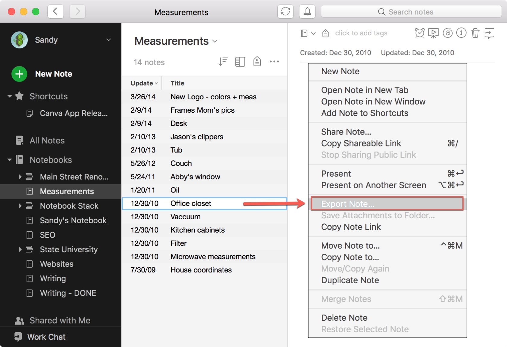 Evernote Export Note Mac