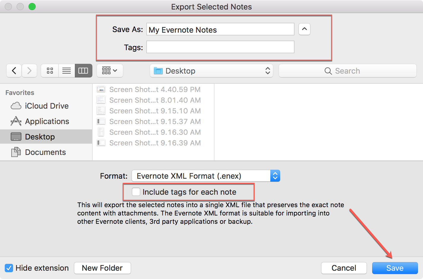 Evernote Export and Save Mac