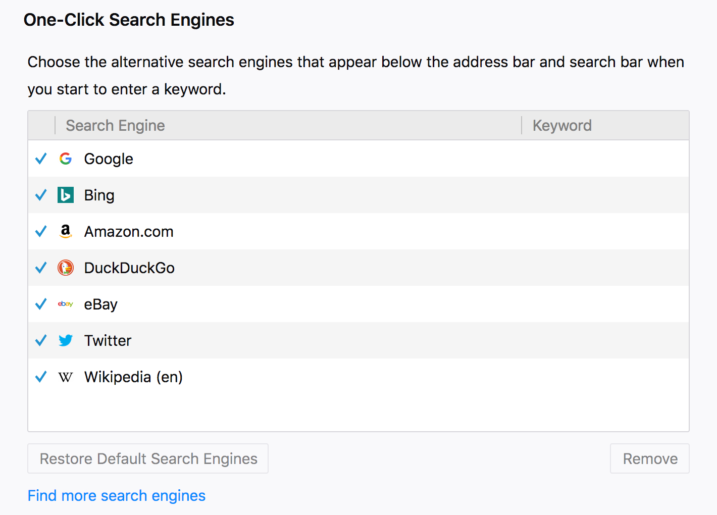 Firefox Installed Search Engines