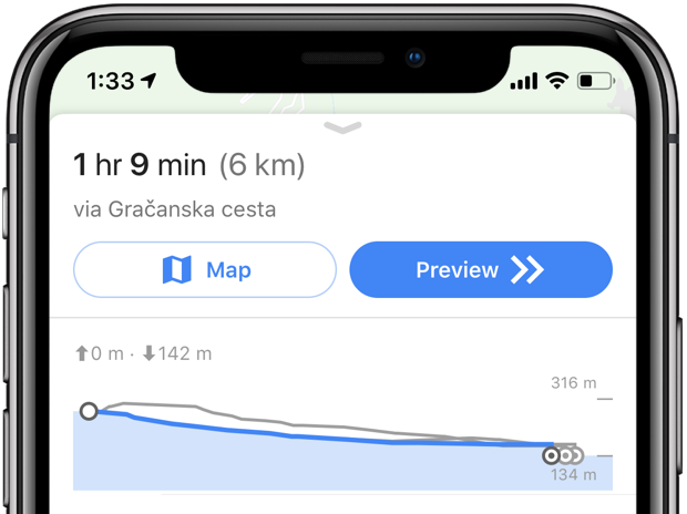 Elevation data for walking and cycling directions is now available in the Google Maps app