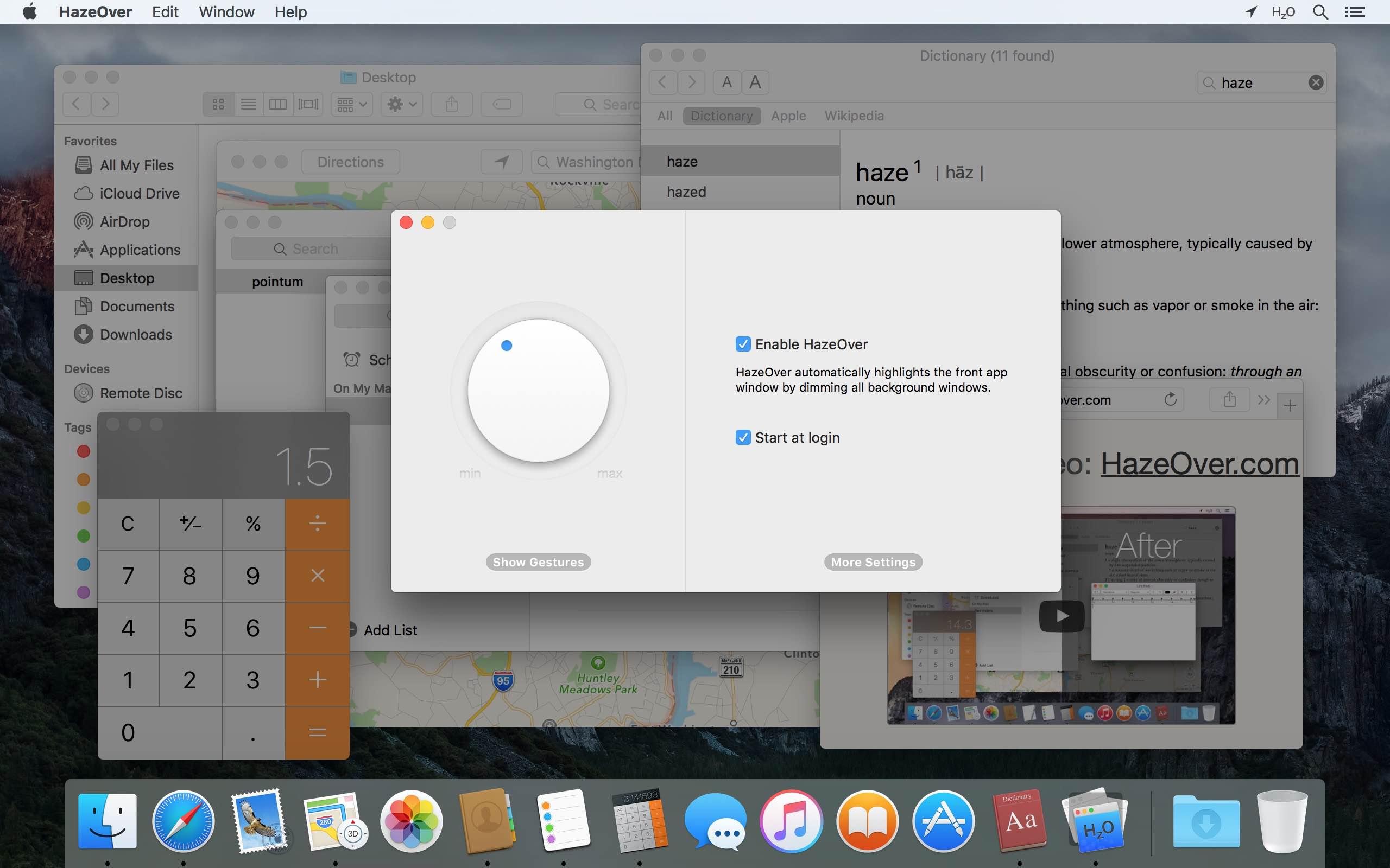 Modo oscuro de Mac: elegir si ejecutar la aplicación HazeOver al inicio del sistema