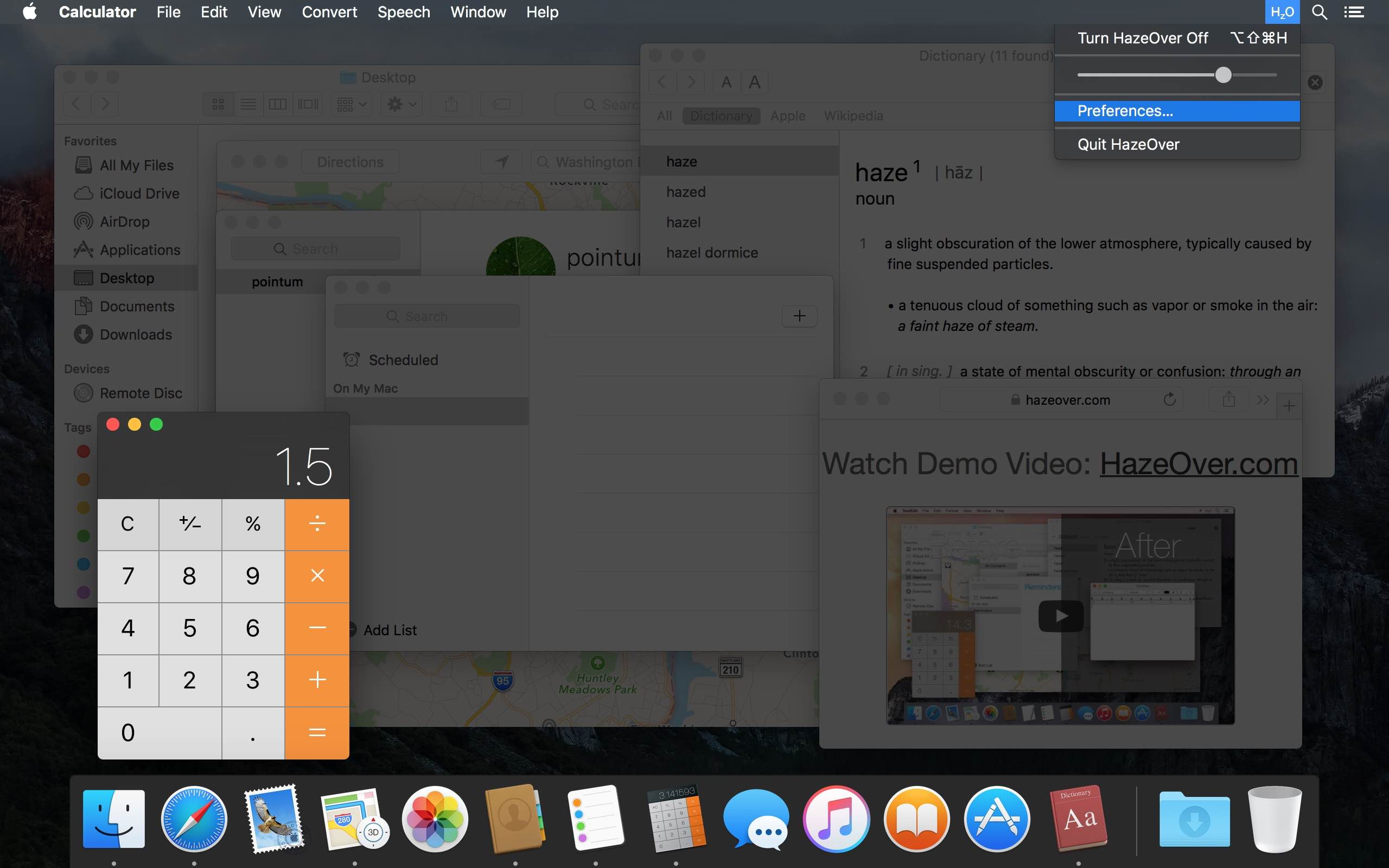Modo oscuro Mac: elemento de la barra de menú Mac de HazeOver