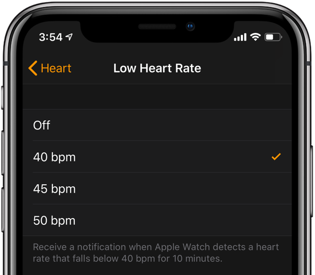 Apple Watch heart rate notification setting for low frequency