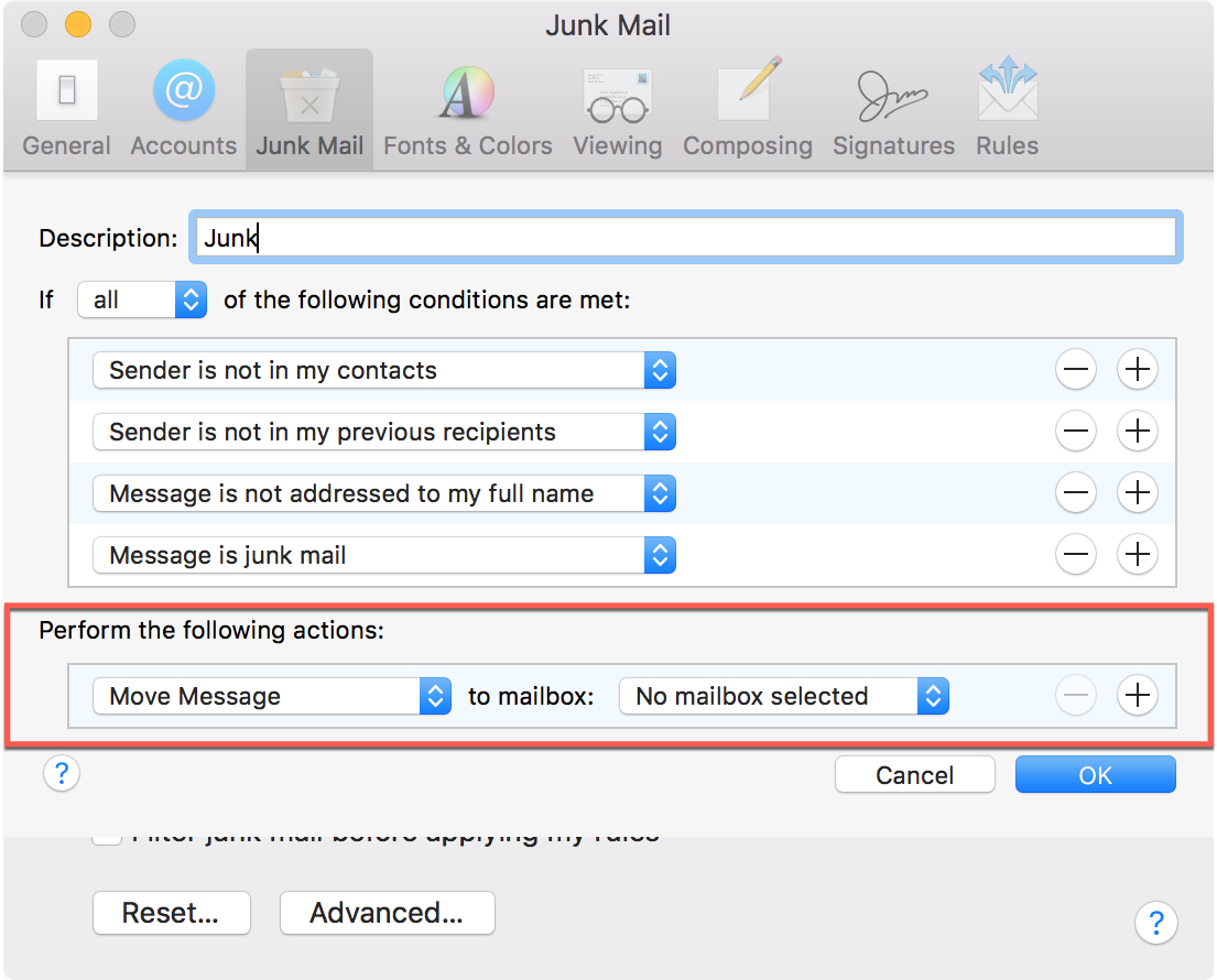 Junk Mail Enable Filtering Actions Mac