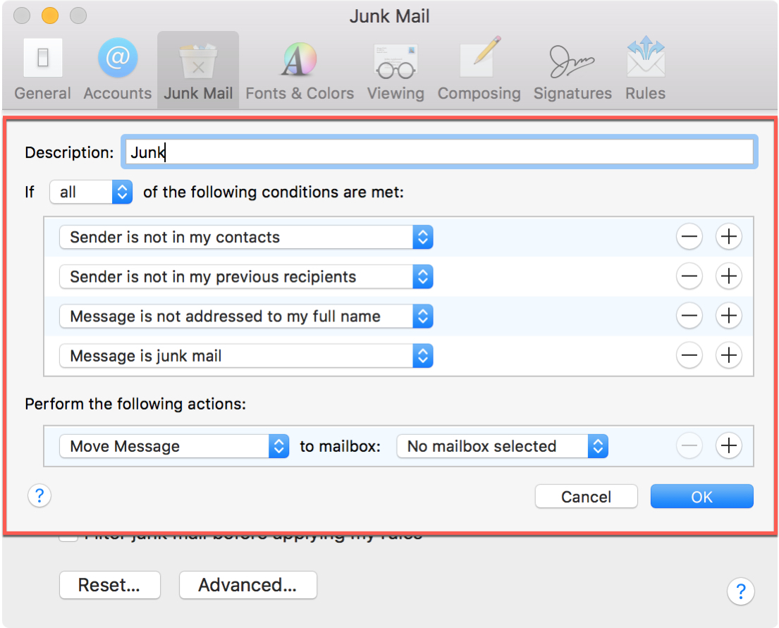 Junk Mail Enable Filtering Advanced Settings Mac