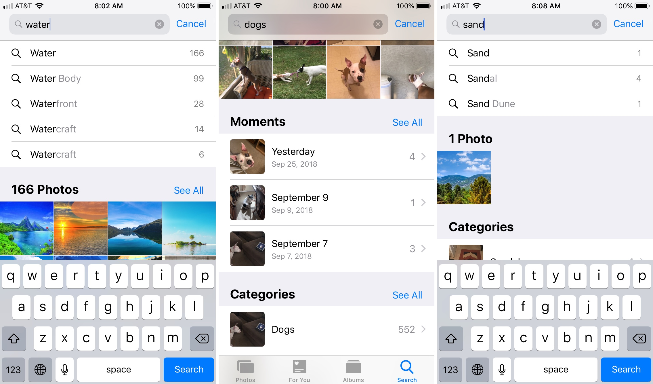Photos App iPhone Search Options