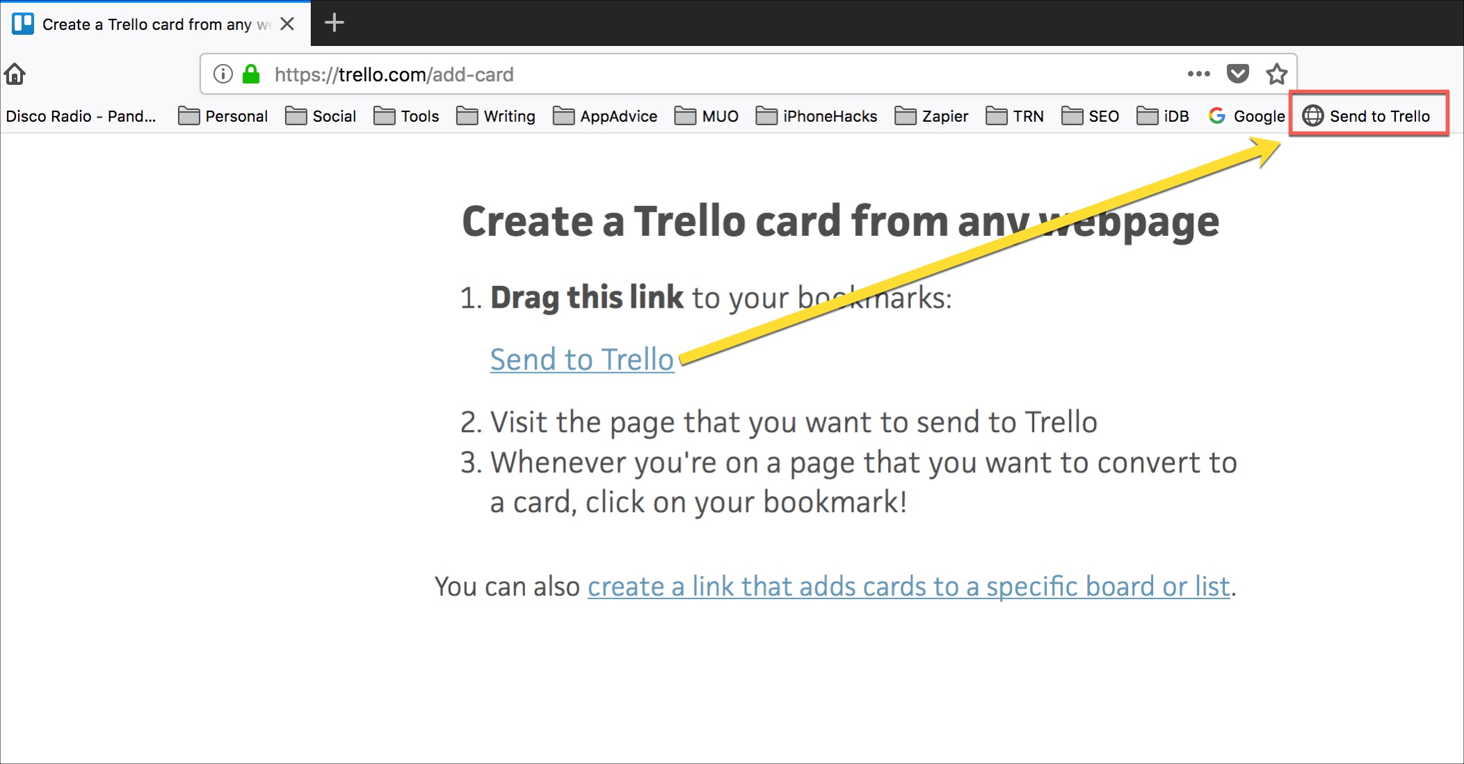 Trello Guardar páginas web como tarjetas Bookmarklet
