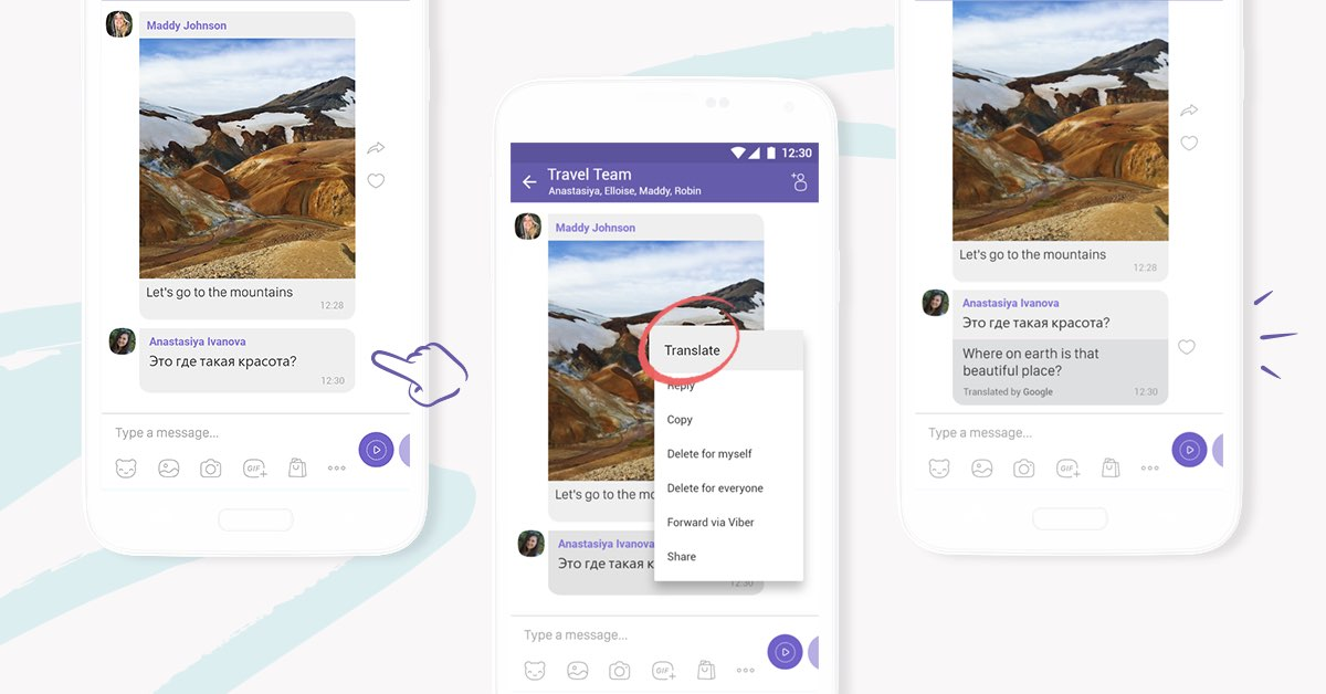 Viber's translation service is available from within your chats