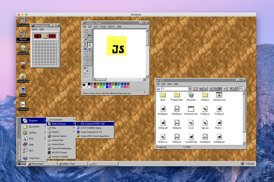 The Windows 95 app running in a window on macOS Mojave