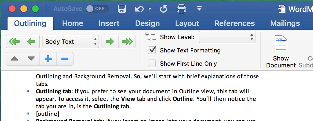 Word Main Tabs Outlining