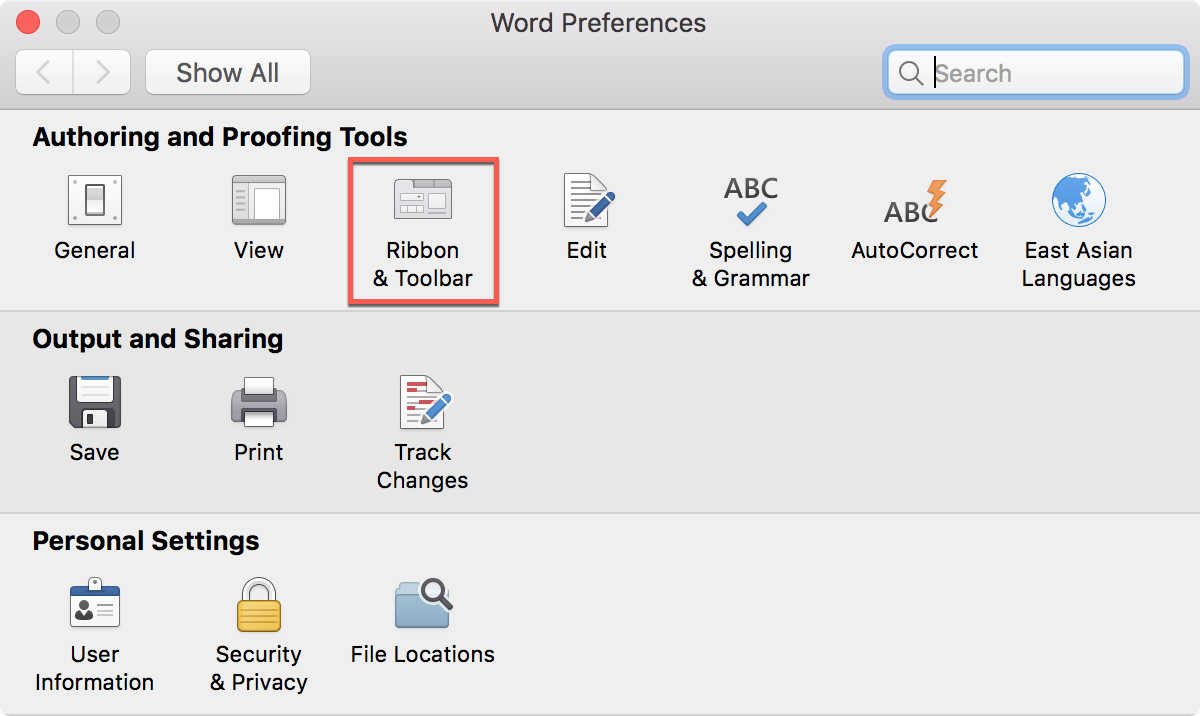 Word Ribbon And Toolbar in Preferences
