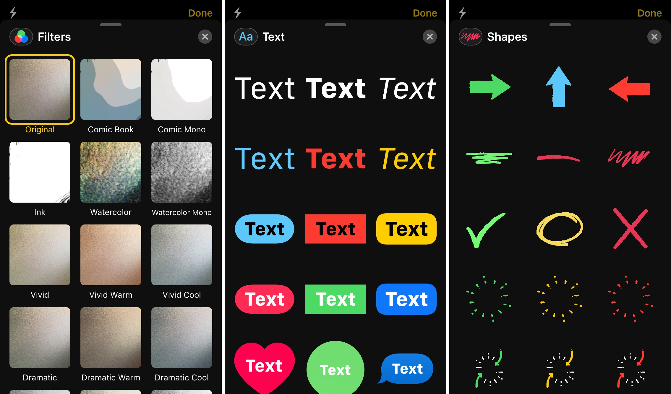 iMessage Filters Text Shapes