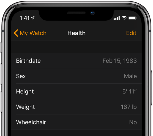 Apple Watch fall detection - editing birth date in the Watch app on iPhone
