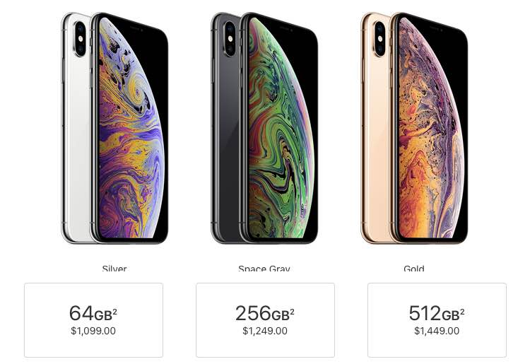 iPhone XS Max storage cost