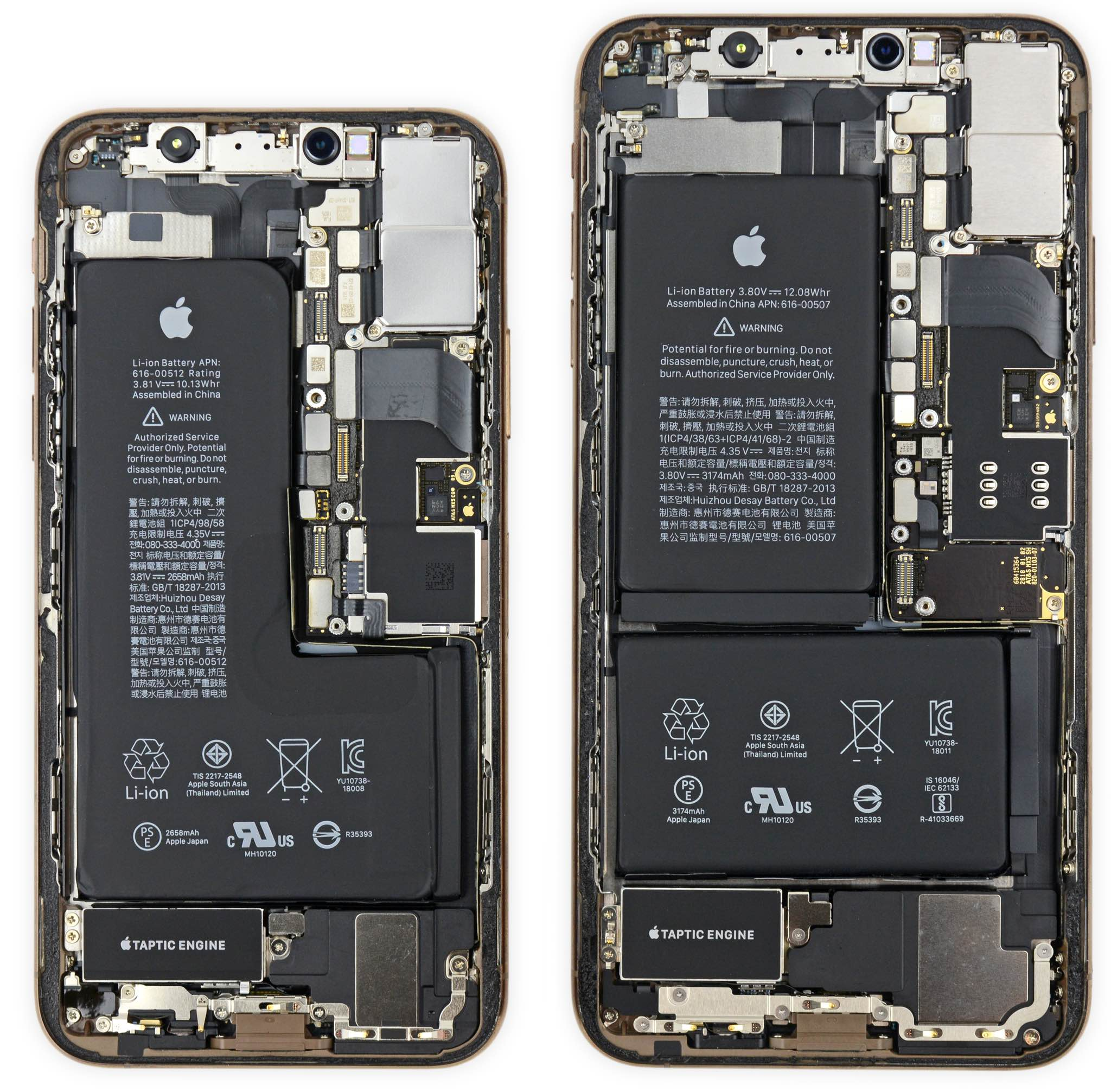 iPhone XS and iPhone XS Max logic board images courtesy of iFixit